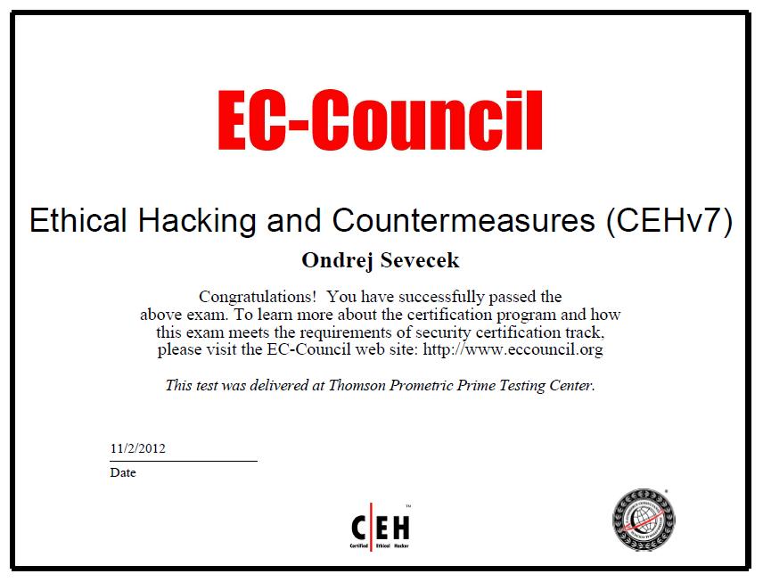 General Ondrej Sevecek Ceh V7 Certified Ethical Hacker